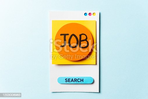 477419728istockphoto Job search post note with paper smartphone concept on blue background. Employment change or help wanted sign concept. 1203008983