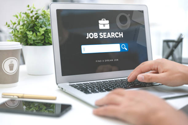 Job search website on laptop. Find a job stock photo