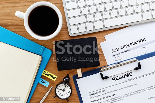 istock Job search with blank sign on computer desk 820850498