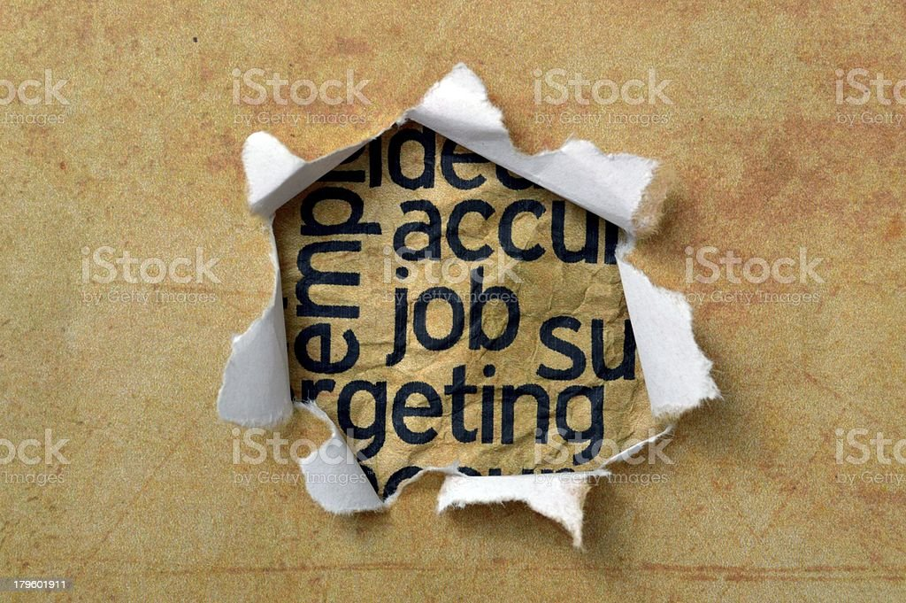 Job text on paper hole royalty-free stock photo