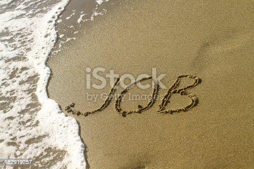 Job word on the beach