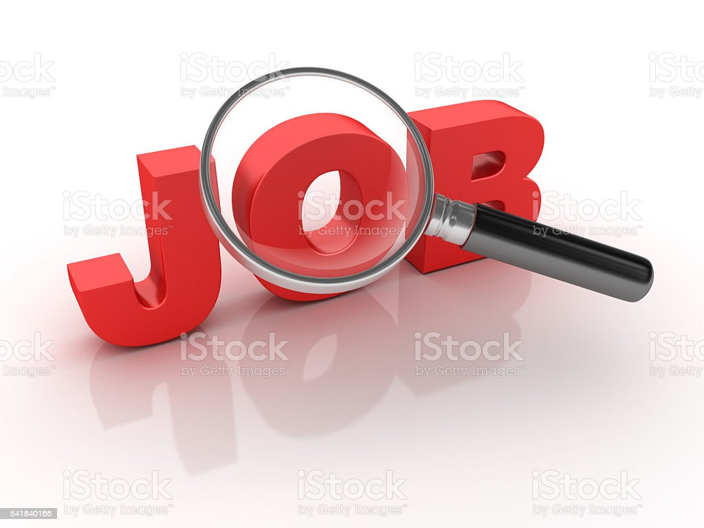 Job Word with Magnifying Glass stock photo