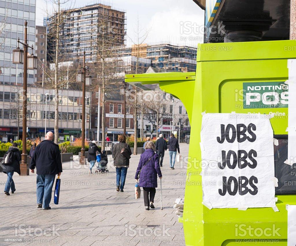 'Jobs Jobs Jobs' in Nottingham royalty-free stock photo