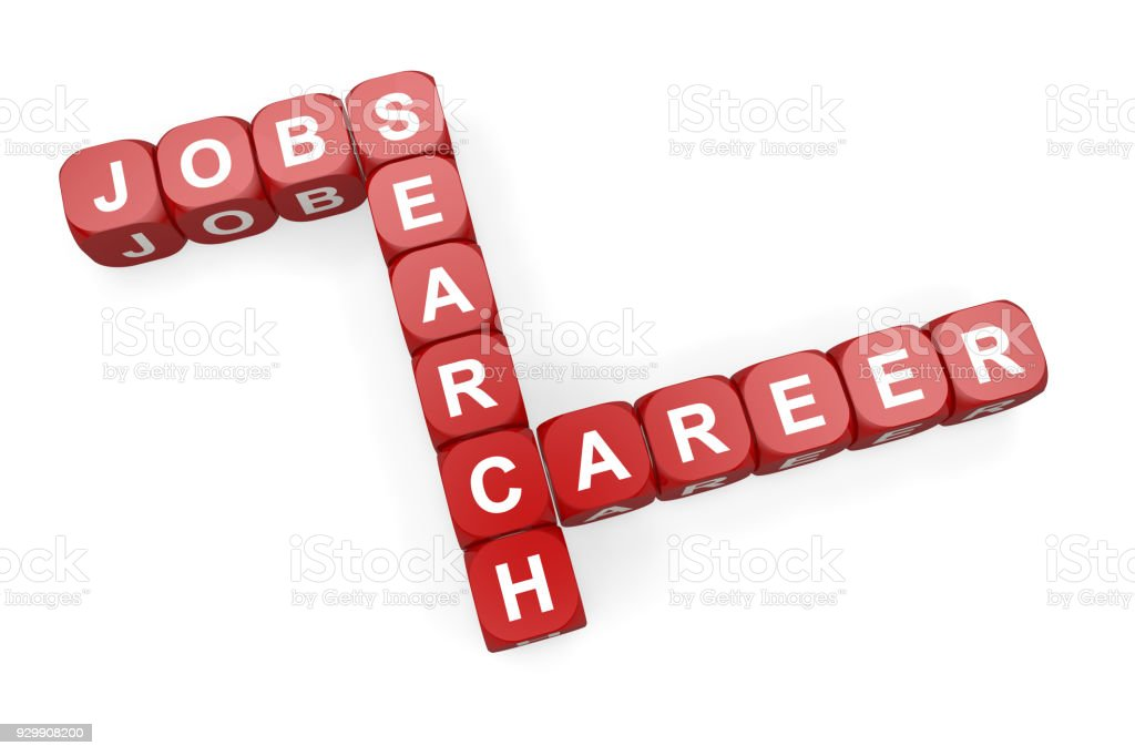 Jobs Search Career On Red Dice Stock Photo - Download Image Now