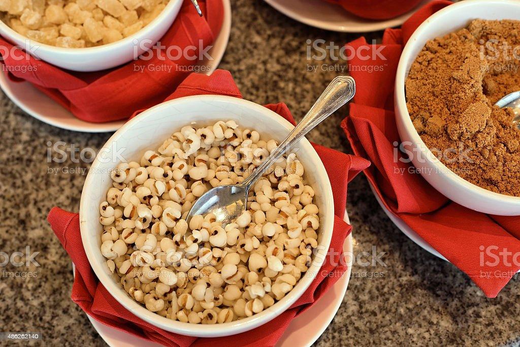 Job's tear boiled grains for health stock photo