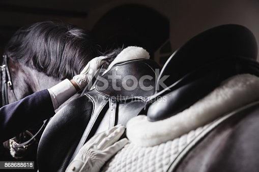 Adult male jokey saddle up horse before the equesterian ride - preparing equipment for training or competition. Unrecognisable closeup view, dramatic light, monochrome colour gamma