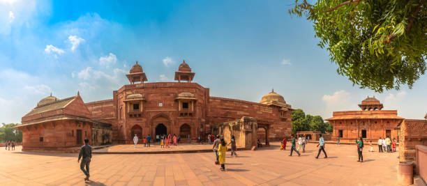 Jodha bai's palace Agra,Utter Pradesh / India - October 13,2019. Panoramic view of Historic red sandstone palace built by Mughal emperor Akbar for Jodha bai also known as the Jodha bai's palace in Fatehpur Sikri . jodha bai's palace stock pictures, royalty-free photos & images