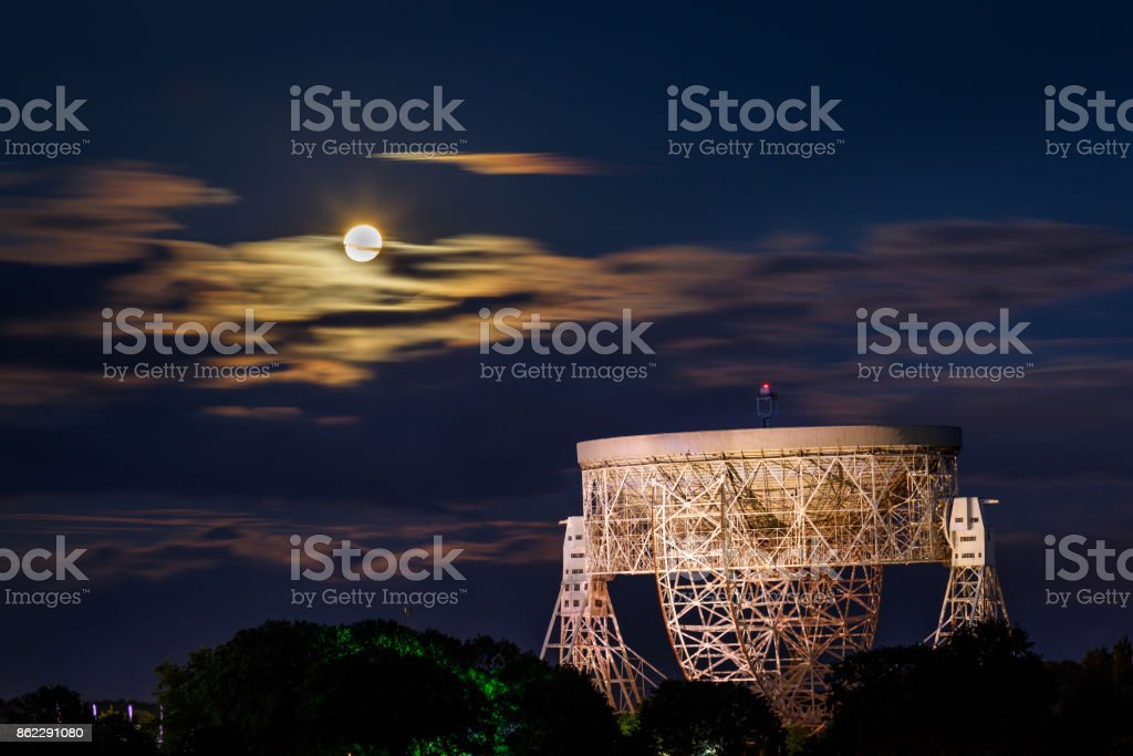 Jodrell Bank Radio Telescope and the Rising Moon stock photo