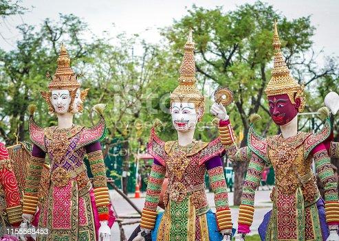 BANGKOK, THAILAND – 28 MAY 2019 : Joe Louis traditional Thai puppet dolls performing at Sanam Laung, Grand Palace, Bangkok