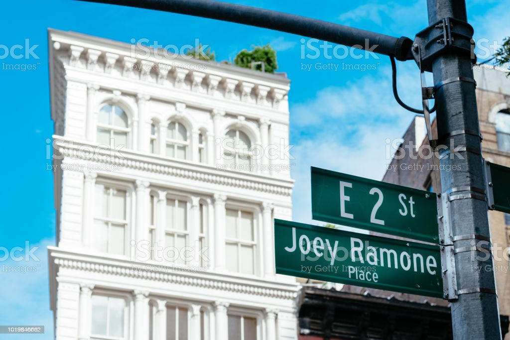 Joey Ramone Place road sign in East Village of New York stock photo