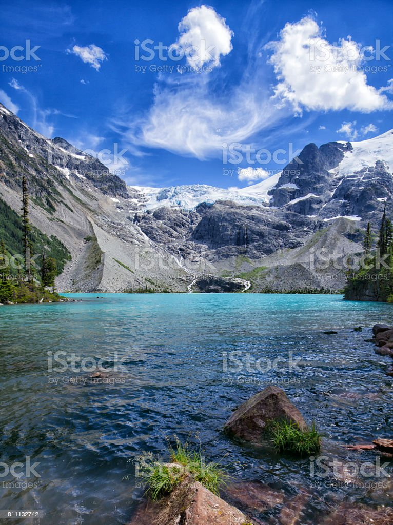 Joffre Lakes in summer in Vertical, BC, Canada stock photo