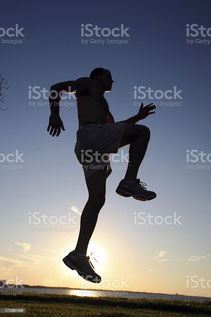 Jogger at Sunset royalty-free stock photo