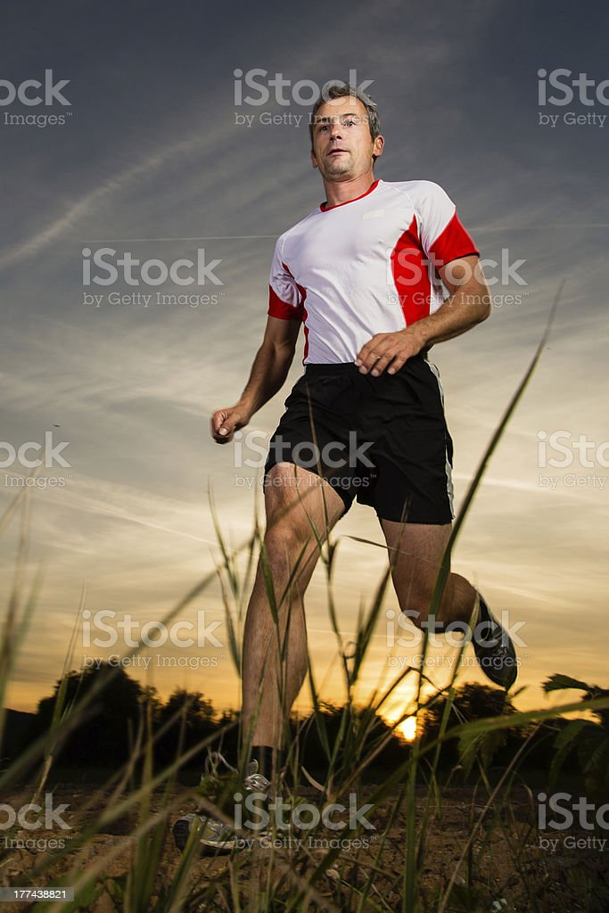 jogger in sundown royalty-free stock photo