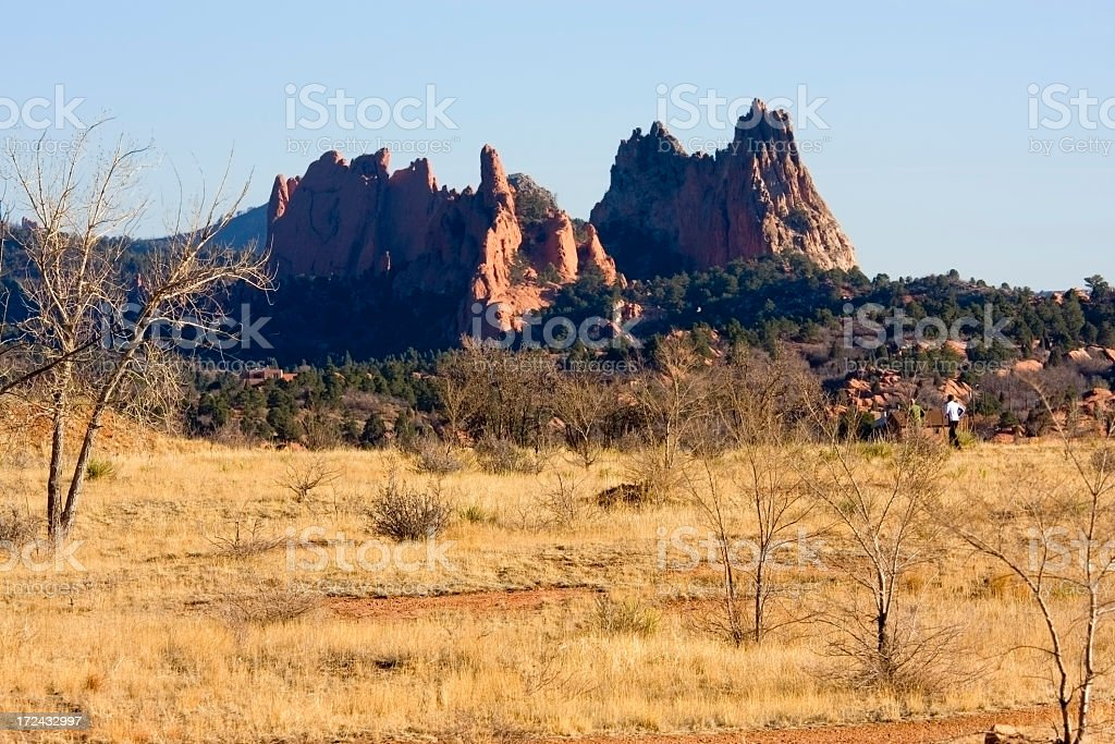 Joggers in Red Rocks Open Space royalty-free stock photo