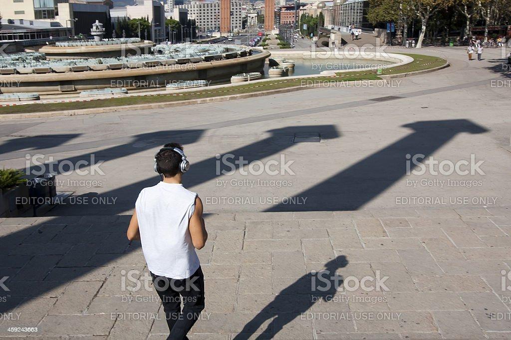 Jogging in Barcelona royalty-free stock photo