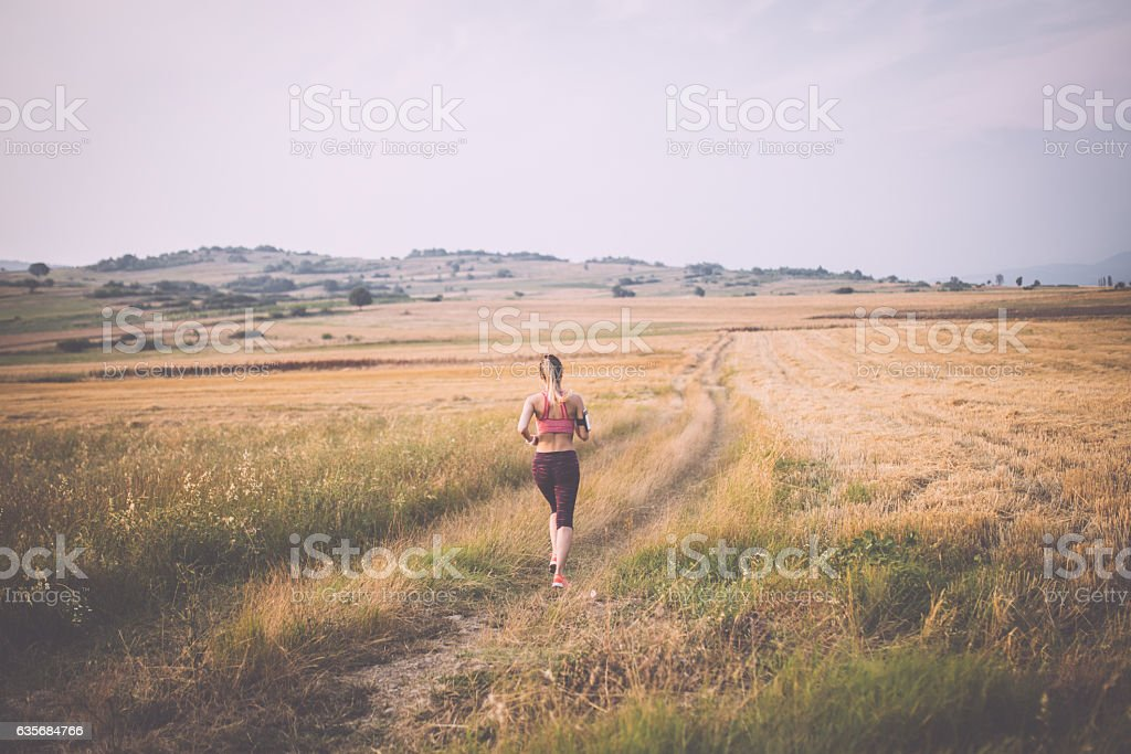 Jogging in nature stock photo