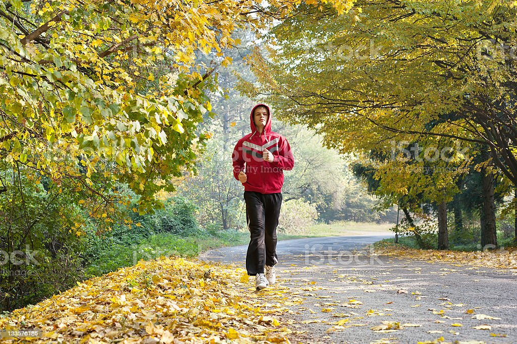jogging in park stock photo