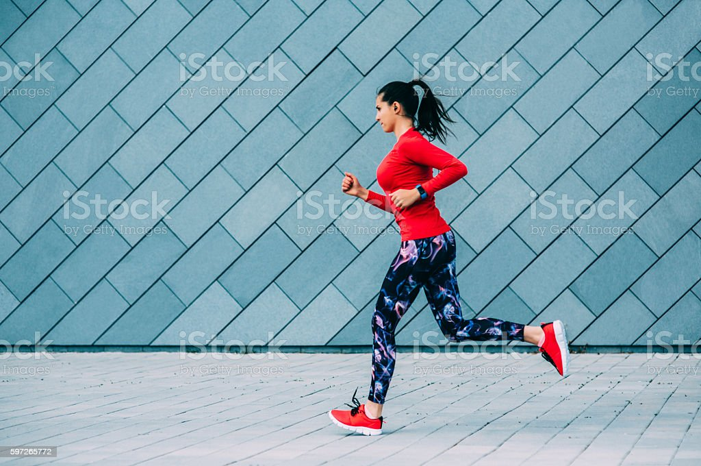 Jogging in the city royalty-free stock photo