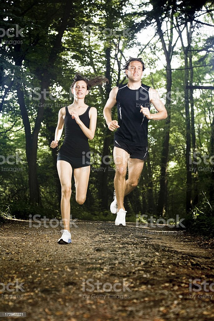 Jogging in the woods royalty-free stock photo