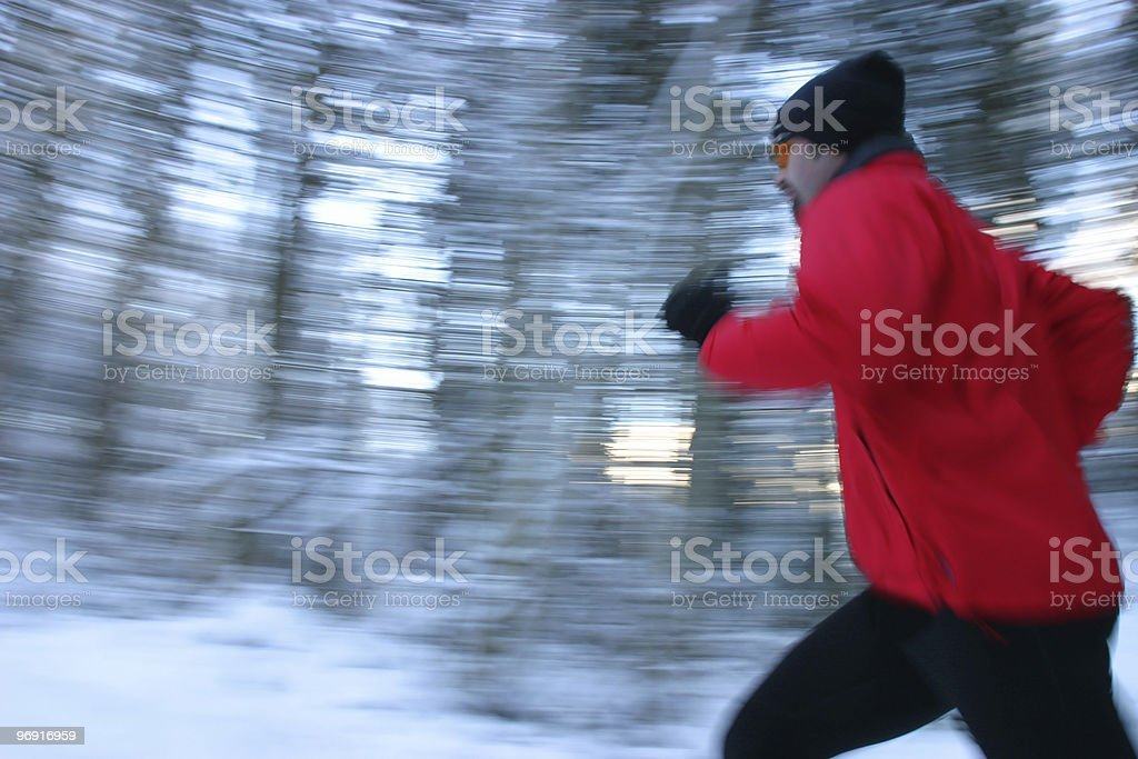 jogging in winterforest royalty-free stock photo