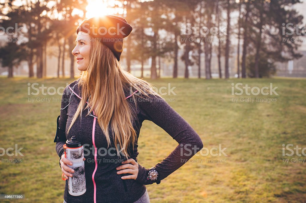 Jogging on fresh air can help me stay fit stock photo