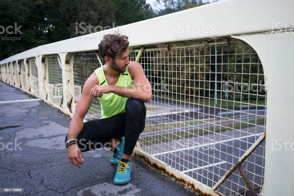 Jogging on the bridge royalty-free stock photo