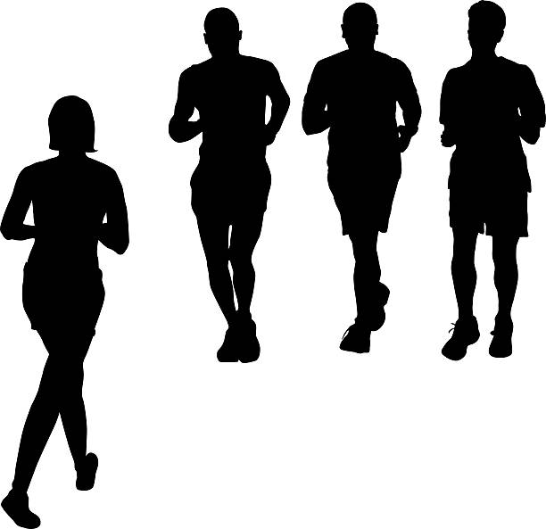 jogging - people stencils silhouette stock photos and pictures