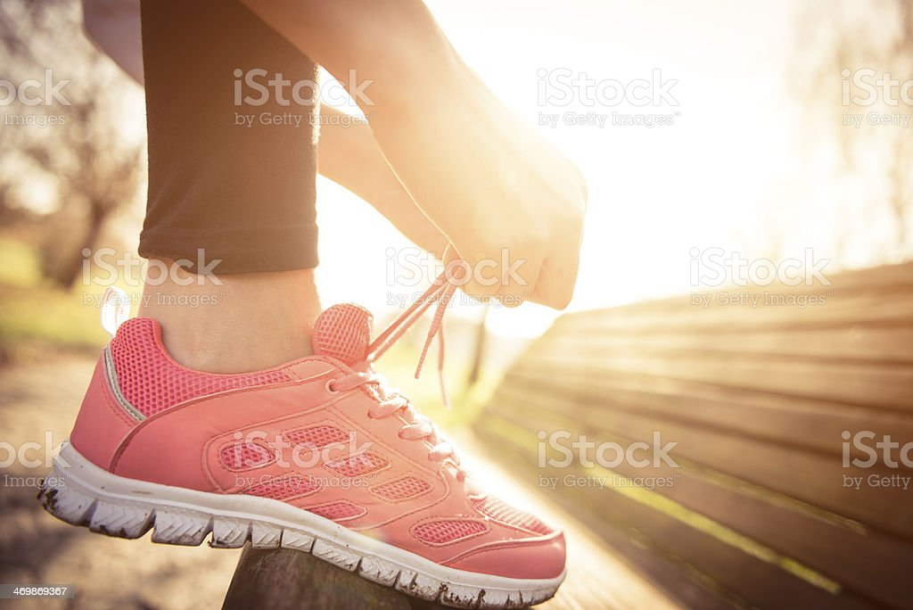 jogging shoes closeup stock photo