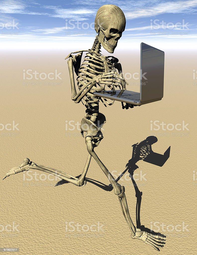 Jogging skeleton with laptop royalty free stockfoto