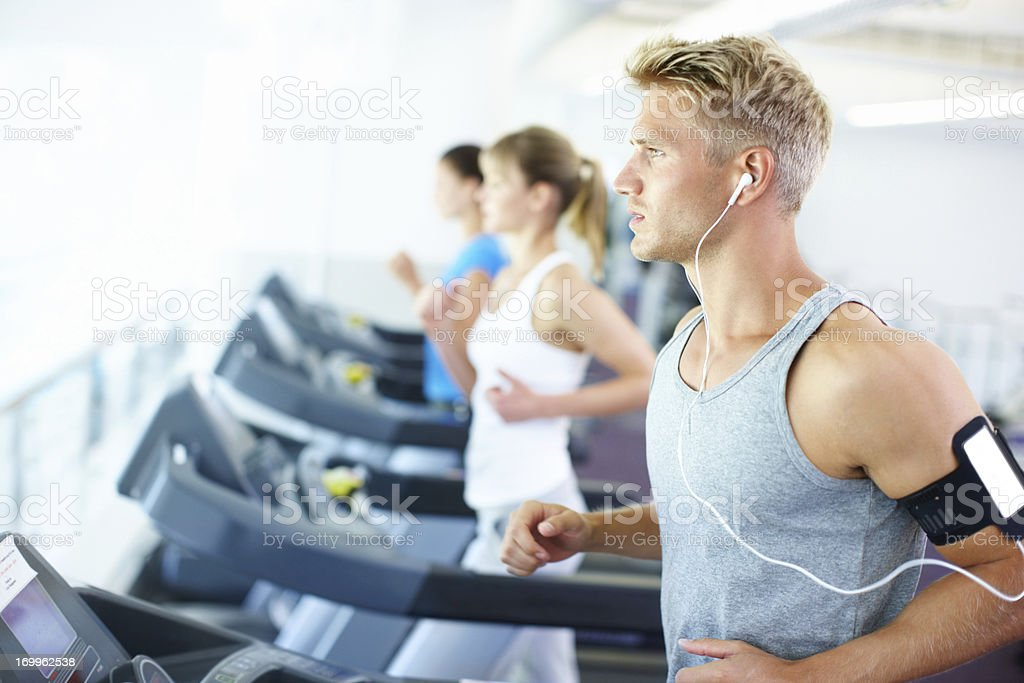 Jogging to his favourite song stock photo