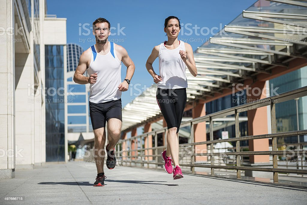 Jogging together royalty-free stock photo