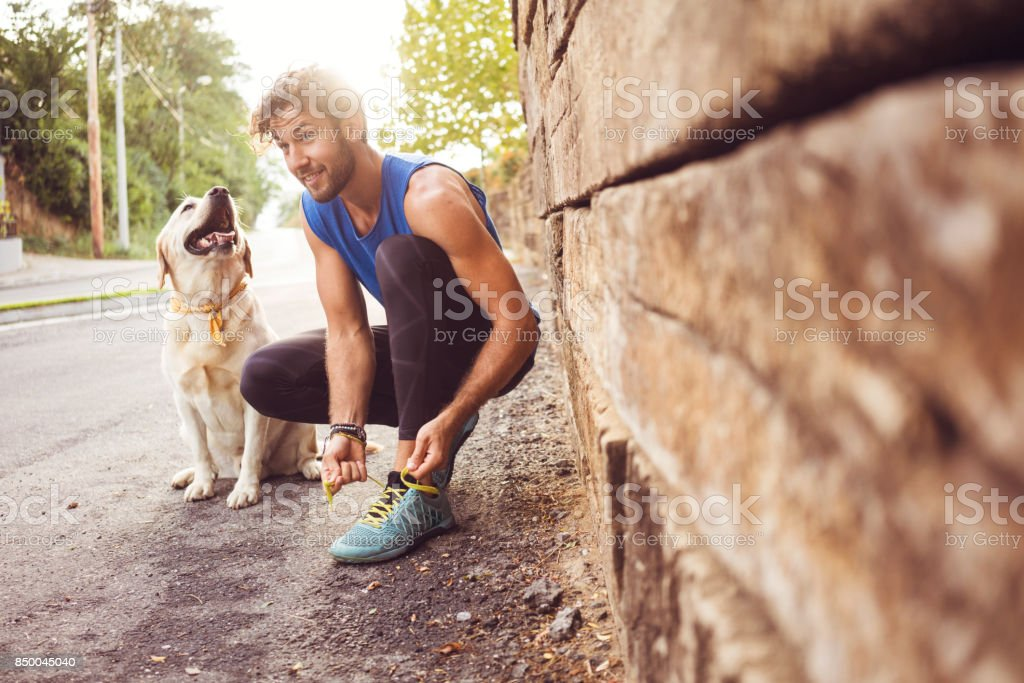 Jogging with my best friend stock photo