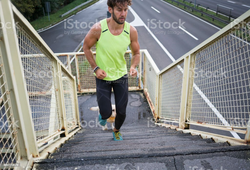 Jogging with my best friend royalty-free stock photo