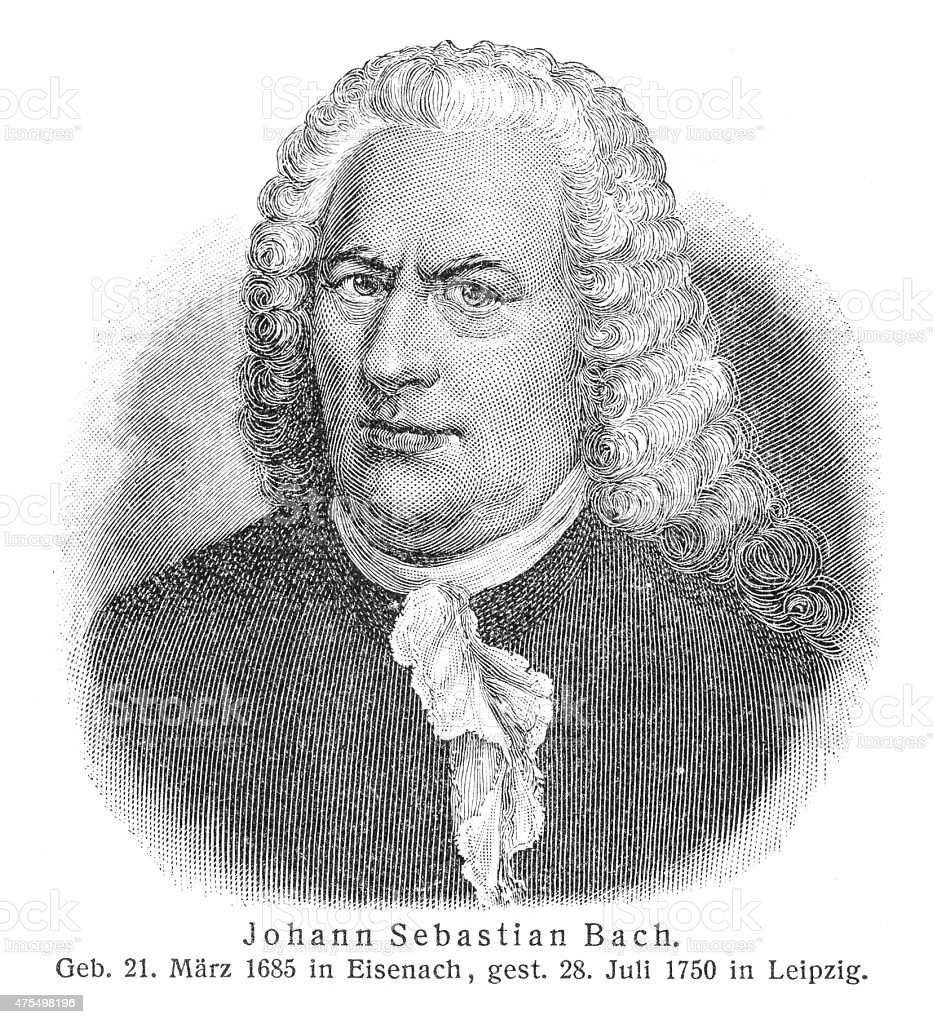 Johann Sebastian Bach engraving stock photo
