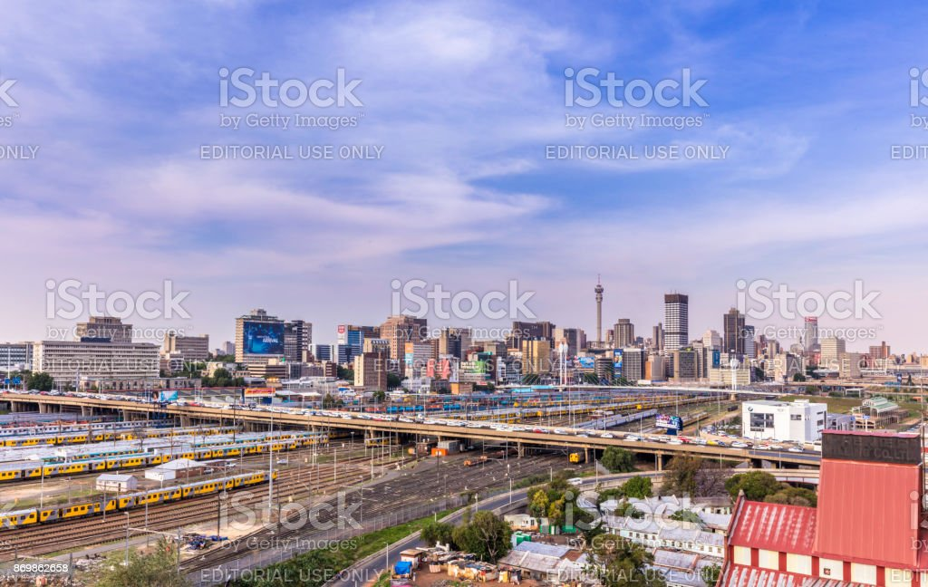 Johannesburg afternoon cityscape highway traffic stock photo