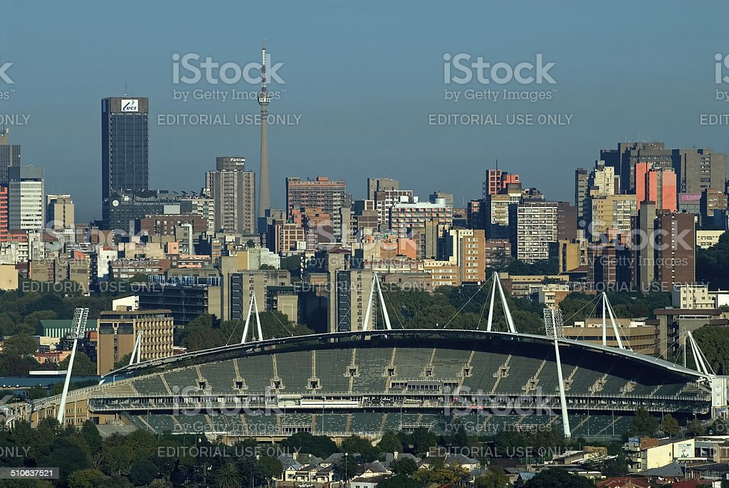 Johannesburg City building, towers and stadium stock photo