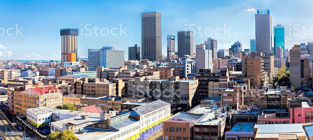Johannesburg city centre cityscape from the east stock photo