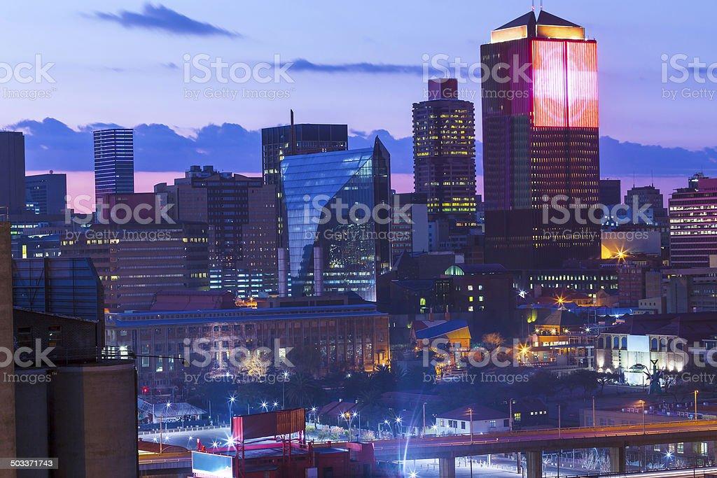 Johannesburg city centre on an early sunrise stock photo