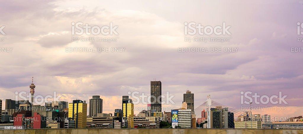 Johannesburg city cloudscape sunset stock photo