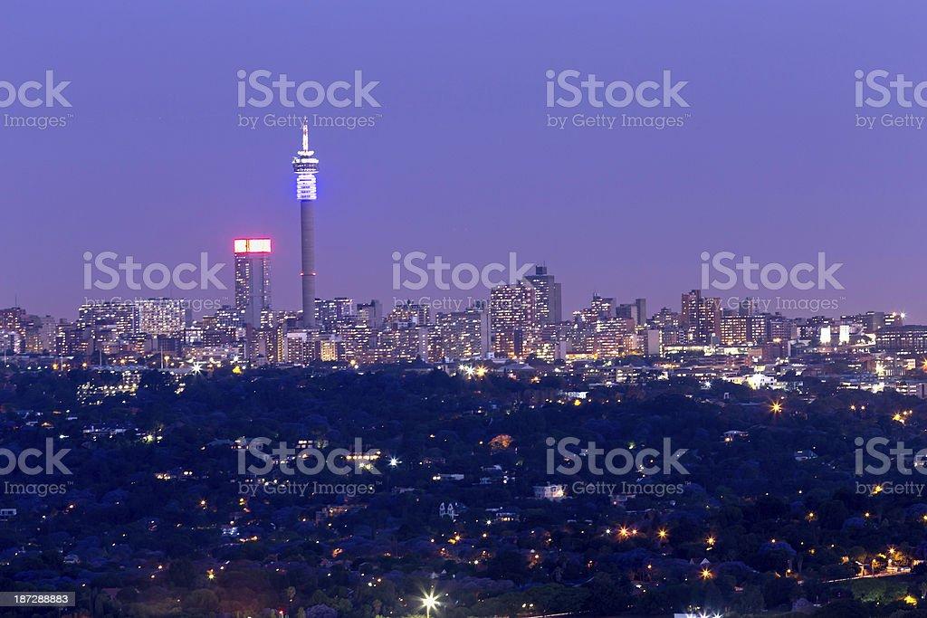 Johannesburg City Evening Skyline stock photo