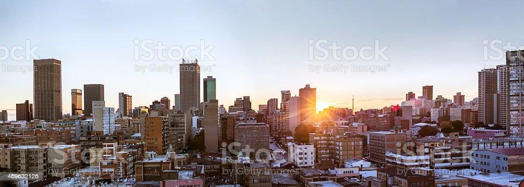 Johannesburg city evening sunset panorama, seen from east stock photo