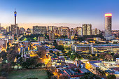 istock Johannesburg city panorama sunflare with the tower 970157462