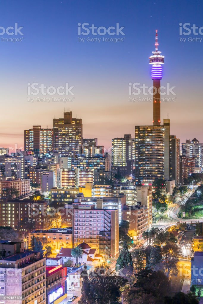 Johannesburg city panorama with the communications tower stock photo