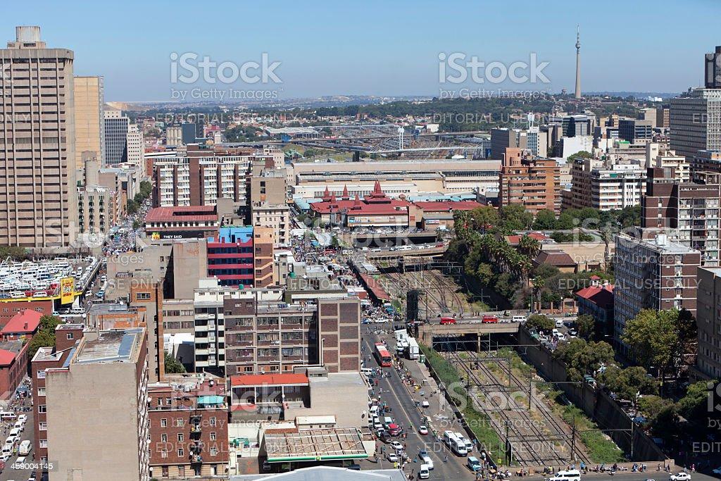 Johannesburg City with Park Station stock photo