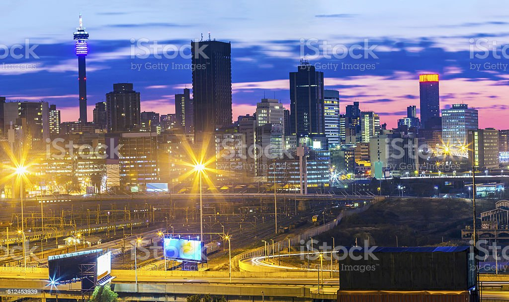 Johannesburg cityscape, an early sunrise stock photo