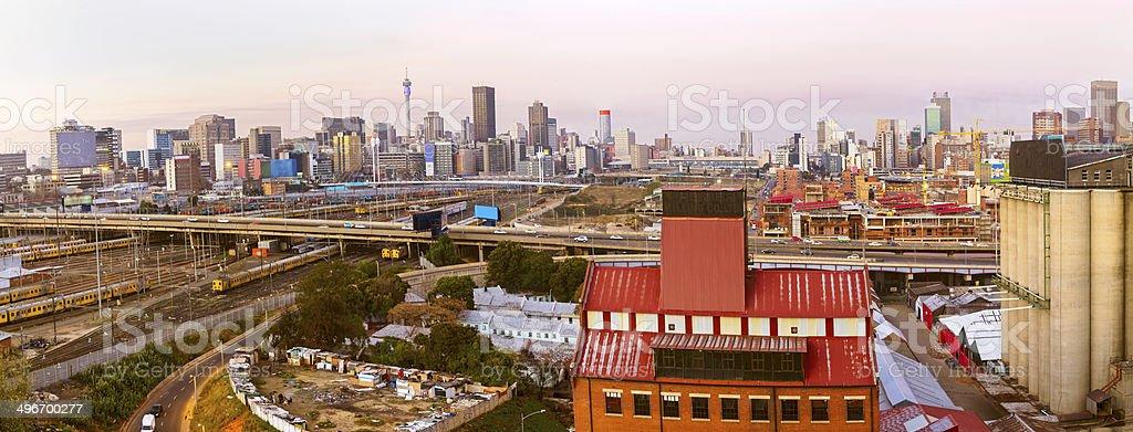 Johannesburg Cityscape at sunset stock photo