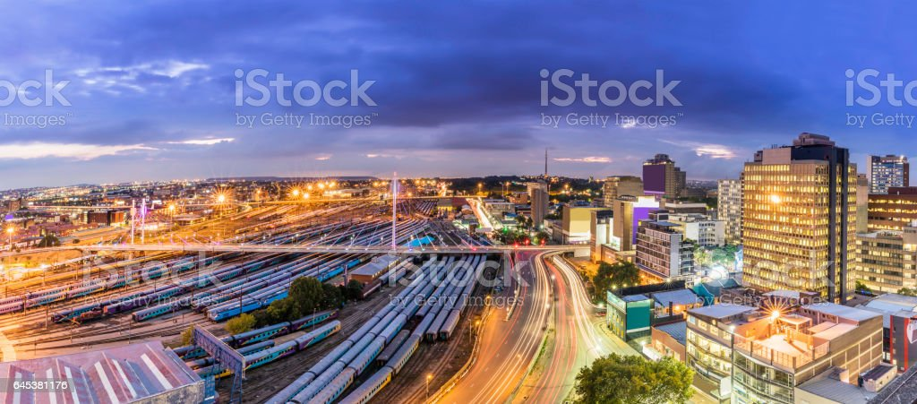 Johannesburg cityscape panorama with Nelson Mandela bridge stock photo