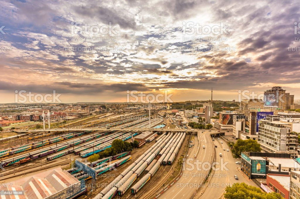 Johannesburg cityscape with Nelson Mandela bridge stock photo