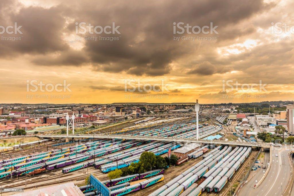 Johannesburg cityscape with Nelson Mandela bridge stock photo