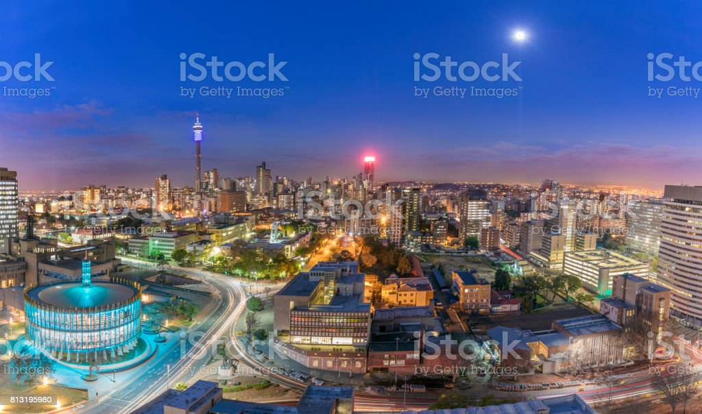Johannesburg Council Chamber and Hillbrow cityscape stock photo